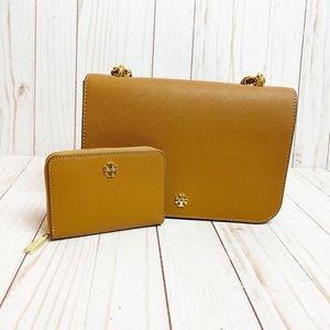 Tory Burch Robinson Chain Tan Handbag & Wallet Set